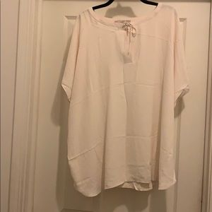 NWT Loft Mixed Media Cream Blouse